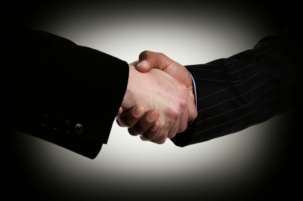 Handshake between two business people